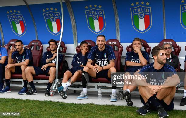 Leonardo Bonucci of Italy smiles during a Italy training session at Filadelfia Stadium on October 7 2017 in Turin Italy