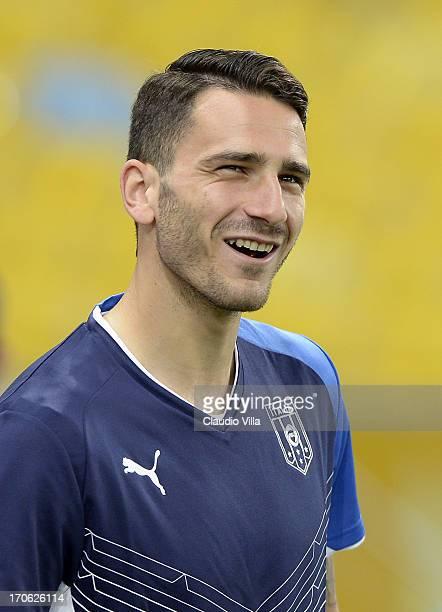 Leonardo Bonucci of Italy smiles during a training session at the Maracana Stadium on June 15 2013 in Rio de Janeiro Brazil