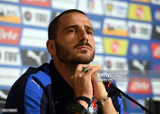 Leonardo Bonucci of Italy speaks to the media during a press conference at the club's training ground at Coverciano on May 25 2016 in Florence Italy