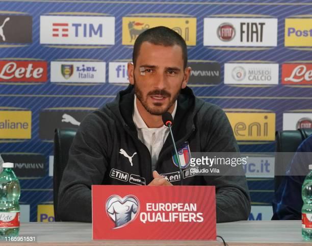 Leonardo Bonucci of Italy speaks with the media durin press conference on September 4, 2019 in Yerevan, Armenia.
