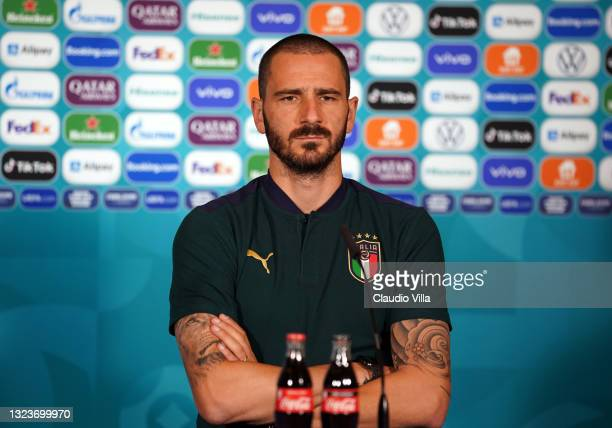 Leonardo Bonucci of Italy speaks with the media during the Italy Press Conference ahead of the UEFA Euro 2020 Group A match between Italy and...