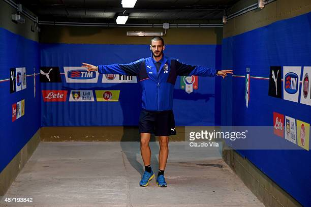 Leonardo Bonucci of Italy walks in the players tunnel prior to the UEFA EURO 2016 Qualifier match between Italy and Bulgaria on September 6, 2015 in...