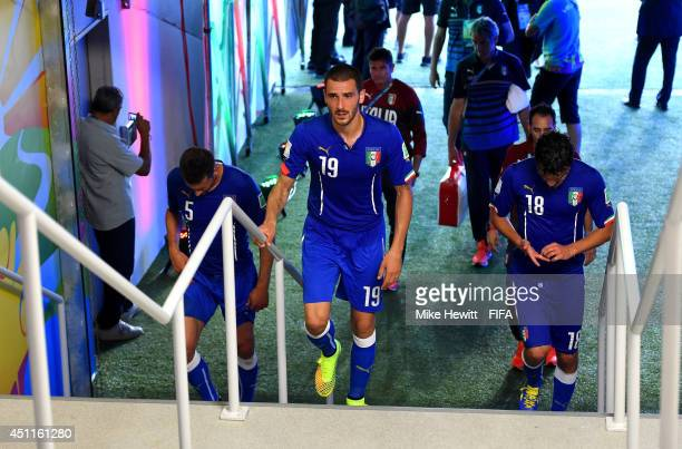 Leonardo Bonucci of Italy walks in the tunnel after the 2014 FIFA World Cup Brazil Group D match between Italy and Uruguay at Estadio das Dunas on...