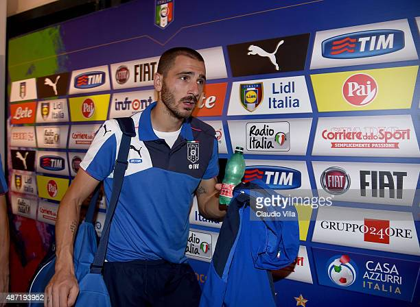 Leonardo Bonucci of Italy walks past the mixed zone after the UEFA EURO 2016 Qualifier match between Italy and Bulgaria on September 6, 2015 in...