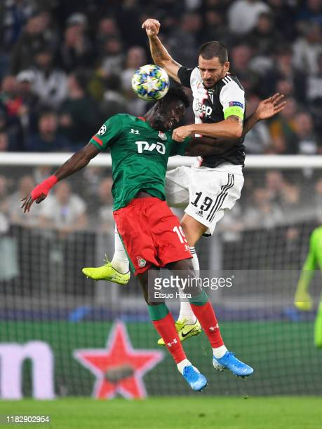 Leonardo Bonucci of Juventus and Eder of Lokolotiv Moskva compete for the ball during the UEFA Champions League group D match between Juventus and...
