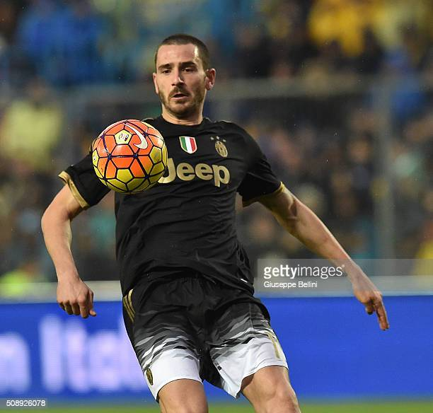 Leonardo Bonucci of Juventus and in action during the Serie A match between Frosinone Calcio and Juventus FC at Stadio Matusa on February 7 2016 in...
