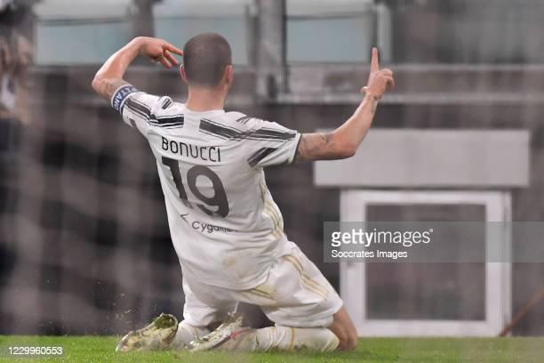 Leonardo Bonucci of Juventus celebrates 2-1 during the Italian Serie A match between Juventus v Torino at the Allianz Stadium on December 5, 2020 in...