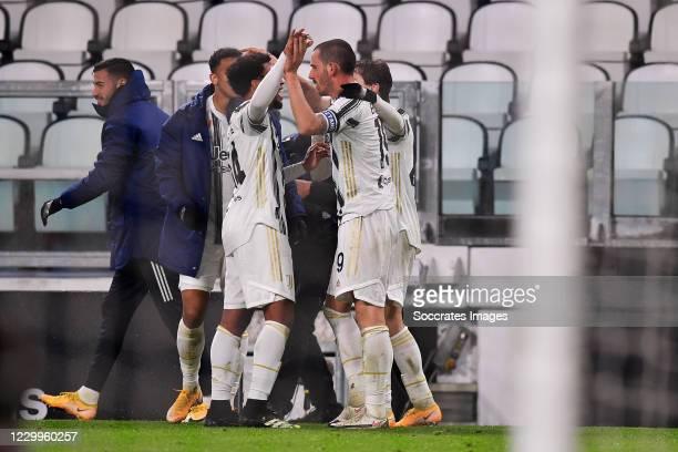 Leonardo Bonucci of Juventus celebrates 2-1 with Weston McKennie of Juventus, Federico Chiesa of Juventus during the Italian Serie A match between...