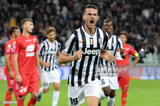 Leonardo Bonucci of Juventus celebrates a goal during the Serie A match between Juventus and Catania Calcio at Juventus Arena on October 30, 2013 in...