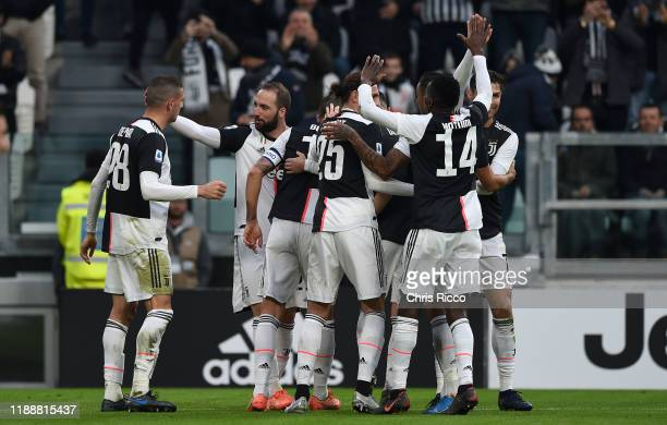 Leonardo Bonucci of Juventus celebrates a goal with his teammates during the Serie A match between Juventus and Udinese Calcio at Allianz Stadium on...