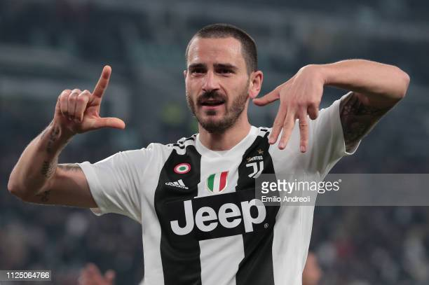 Leonardo Bonucci of Juventus celebrates after scoring the second goal of his team during the Serie A match between Juventus and Frosinone Calcio at...