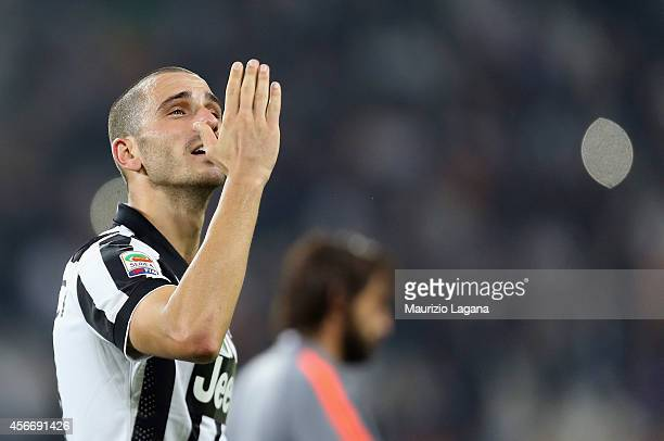 Leonardo Bonucci of Juventus celebrates during the Serie A match between Juventus FC and AS Roma at Juventus Arena on October 5 2014 in Turin Italy