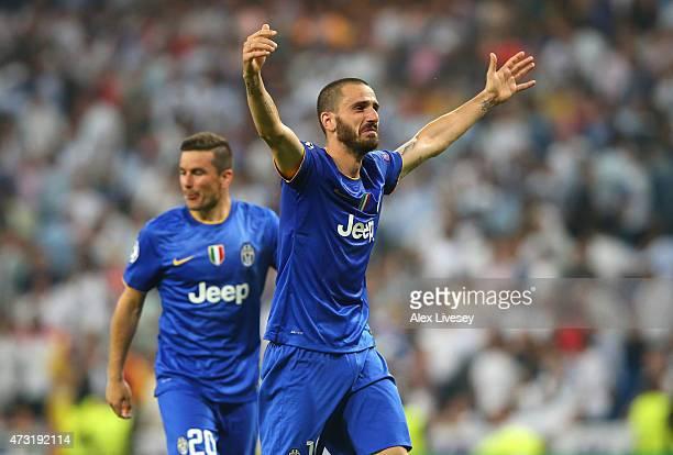 Leonardo Bonucci of Juventus celebrates following his team's progression to the final during the UEFA Champions League Semi Final second leg match...