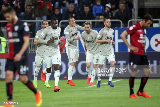 Leonardo Bonucci of Juventus celebrates his goal 01 during the Serie A match between Cagliari and Juventus at Sardegna Arena on April 2 2019 in...
