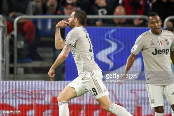 Leonardo Bonucci of Juventus celebrates his goal 0-1 during the Serie A match between Cagliari and Juventus at Sardegna Arena on April 2, 2019 in...