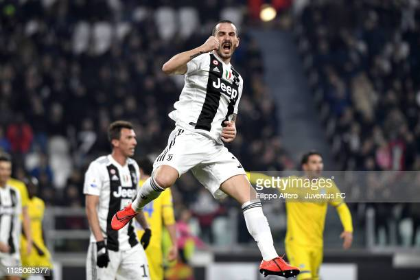 Leonardo Bonucci of Juventus celebrates his goal of 20 during the Serie A match between Juventus and Frosinone Calcio on February 15 2019 in Turin...