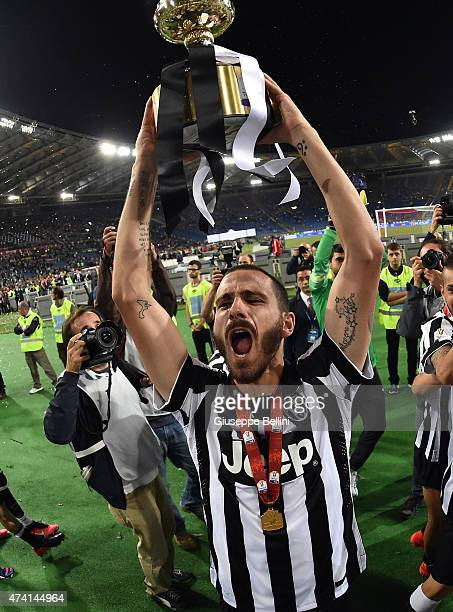 Leonardo Bonucci of Juventus celebrates the victory after the TIM Cup final match between SS Lazio and Juventus FC at Olimpico Stadium on May 20 2015...