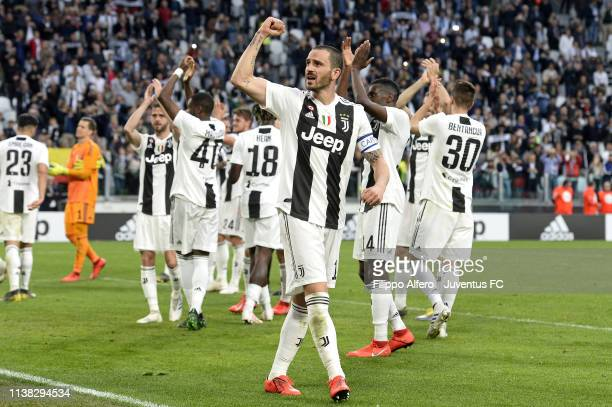 Leonardo Bonucci of Juventus celebrates with his teammates the winning of the Italian championship 2018-2019 after the Serie A match between Juventus...