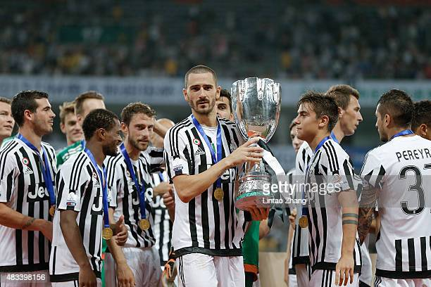 Leonardo Bonucci of Juventus celebrates with teammates after winning the Italian Super Cup final football match between Juventus and Lazio at...