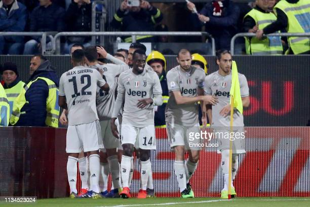 Leonardo Bonucci of Juventus celebtrates his goal 0-1 during the Serie A match between Cagliari and Juventus at Sardegna Arena on April 2, 2019 in...
