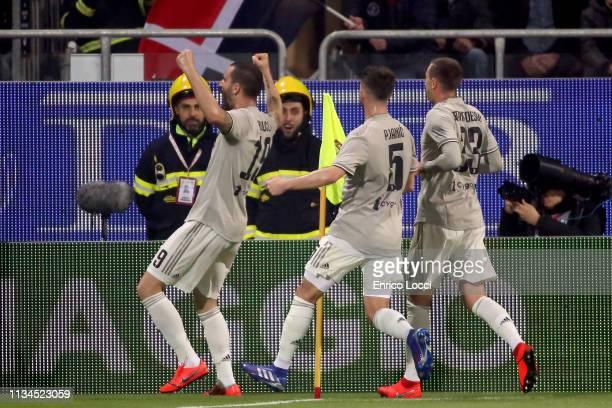 Leonardo Bonucci of Juventus celebtrates his goal 01 during the Serie A match between Cagliari and Juventus at Sardegna Arena on April 2 2019 in...