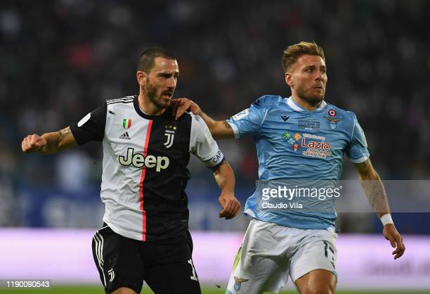 Leonardo Bonucci of Juventus competes for the ball against Ciro Immobile of SS Lazio during the Italian Supercup match between Juventus and SS Lazio...