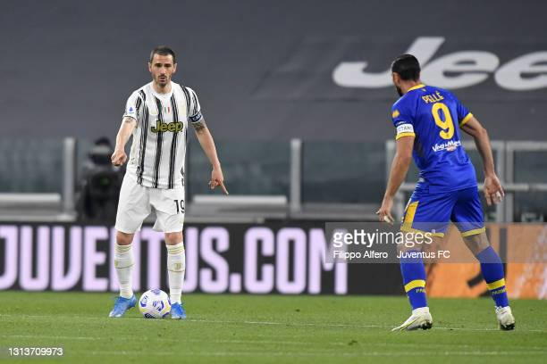 Leonardo Bonucci of Juventus competes for the ball with Graziano Pellè of Parma Calcio during the Serie A match between Juventus and Parma Calcio at...