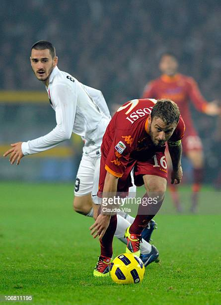 Leonardo Bonucci of Juventus FC and Daniele De Rossi of AS Roma compete for the ball during the Serie A match between Juventus and Roma at Olimpico...