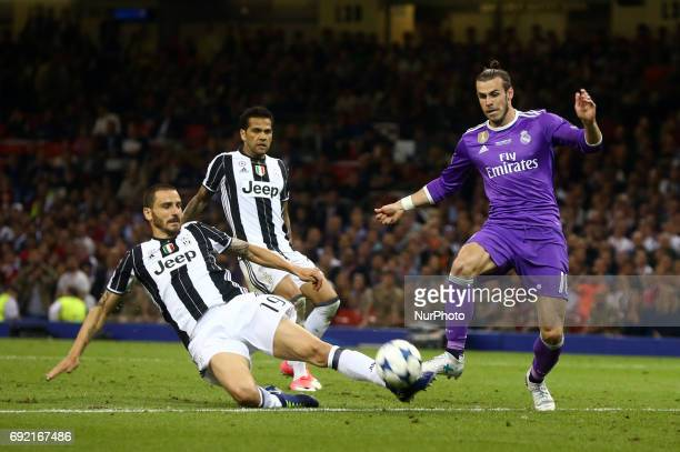 LR Leonardo Bonucci of Juventus FC and Gareth Bale of Real Madrid CF during the UEFA Champions League Final match between Real Madrid and Juventus at...