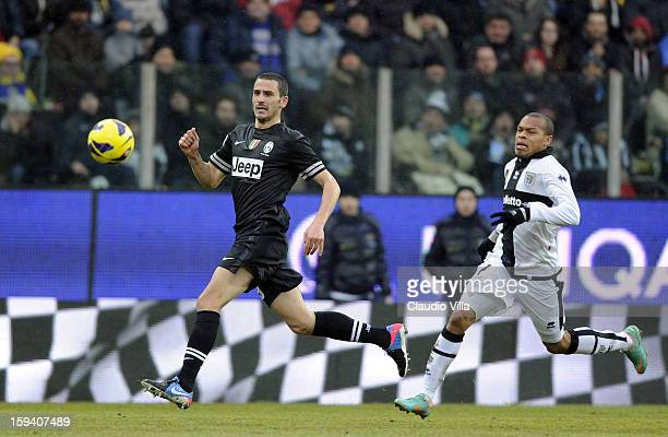 Leonardo Bonucci of Juventus FC and Jonathan Biabiany of Parma FC compete for the ball during the Serie A match between Parma FC and Juventus FC at...