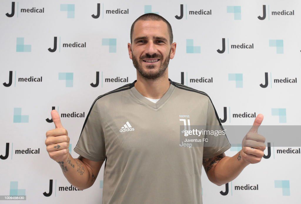 Leonardo Bonucci of Juventus FC attends medical tests at Jmedical on August 2, 2018 in Turin, Italy.