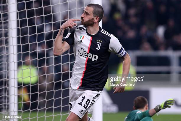 Leonardo Bonucci of Juventus FC celebrate after scoring a goal during the Coppa Italia match between Juventus Fc and As Roma. Juventus Fc wins 3-1...