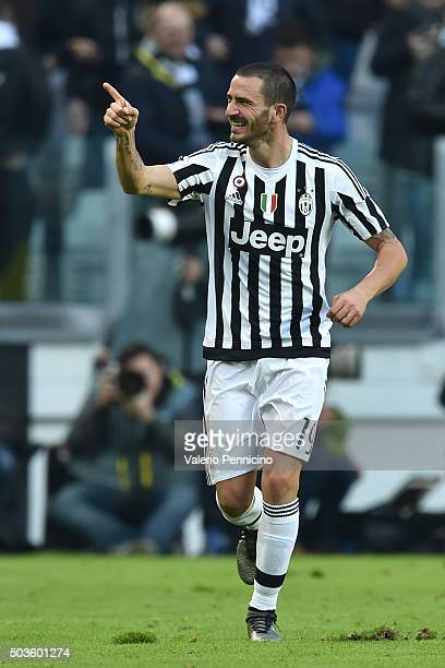 Leonardo Bonucci of Juventus FC celebrates a goal during the Serie A match between Juventus FC and Hellas Verona FC at Juventus Arena on January 6...