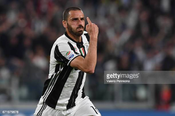 Leonardo Bonucci of Juventus FC celebrates a goal during the Serie A match between Juventus FC and Genoa CFC at Juventus Stadium on April 23 2017 in...