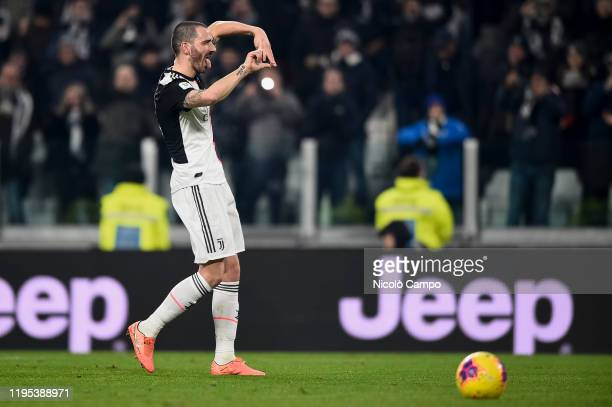 Leonardo Bonucci of Juventus FC celebrates after scoring a goal during the Coppa Italia football match between Juventus FC and AS Roma. Juventus FC...