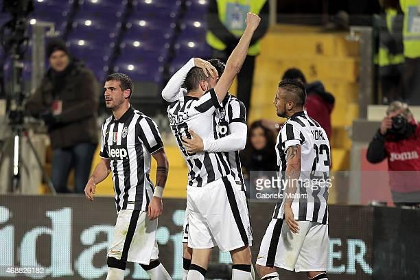 Leonardo Bonucci of Juventus FC celebrates after scoring a goal during the TIM cup match between ACF Fiorentina and Juventus FC at Artemio Franchi on...