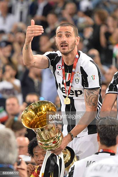 Leonardo Bonucci of Juventus FC celebrates after winning the TIM Cup final match against AC Milan at Stadio Olimpico on May 21 2016 in Rome Italy