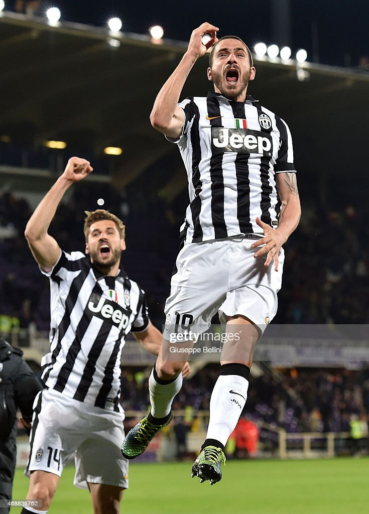 Leonardo Bonucci of Juventus FC celebrates the victory after the TIM cup match between ACF Fiorentina and Juventus FC at Artemio Franchi on April 7, 2015 in Florence, Italy.