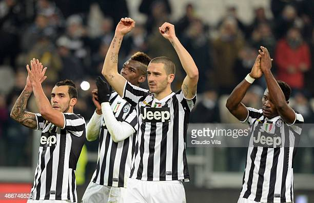 Leonardo Bonucci of Juventus FC celebrates victory at the end of the Serie A match between Juventus and FC Internazionale Milano at Juventus Arena on...
