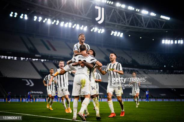 Leonardo Bonucci of Juventus FC celebrates with his teammates after scoring a goal during the Serie A football match between Juventus FC and UC...