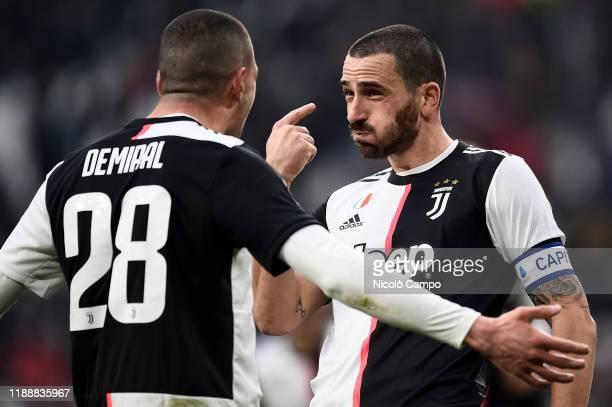 Leonardo Bonucci of Juventus FC celebrates with Merih Demiral of Juventus FC after scoring a goal during the Serie A football match between Juventus...