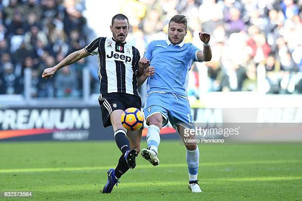 Leonardo Bonucci of Juventus FC competes with Ciro Immobile of SS Lazio during the Serie A match between Juventus FC and SS Lazio at Juventus Stadium...
