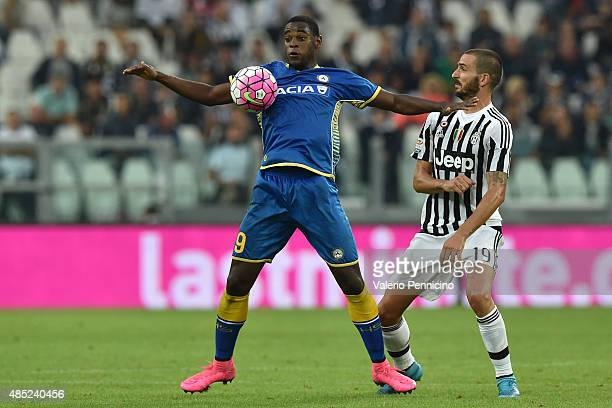 Leonardo Bonucci of Juventus FC competes with Duvan Zapata of Udinese Calcio during the Serie A match between Juventus FC and Udinese Calcio at...