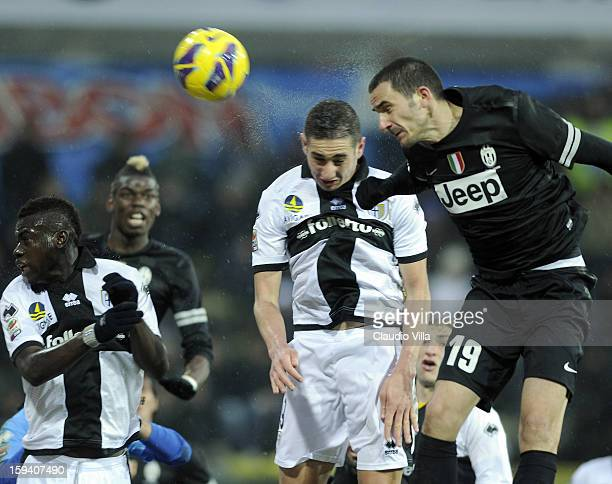 Leonardo Bonucci of Juventus FC during the Serie A match between Parma FC and Juventus FC at Stadio Ennio Tardini on January 13 2013 in Parma Italy
