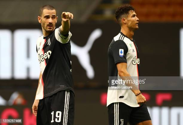 Leonardo Bonucci of Juventus FC gestures during the Serie A match between AC Milan and Juventus at Stadio Giuseppe Meazza on July 7 2020 in Milan...