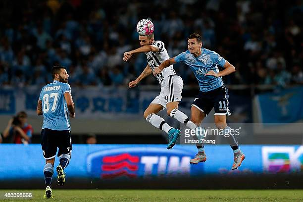 Leonardo Bonucci of Juventus FC head ball with Miroslav Klose of Lazio during the Italian Super Cup final football match between Juventus and Lazio...