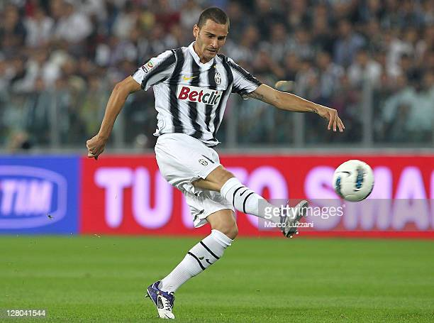 Leonardo Bonucci of Juventus FC in action during the Serie A match between Juventus FC and AC Milan on October 2 2011 in Turin Italy