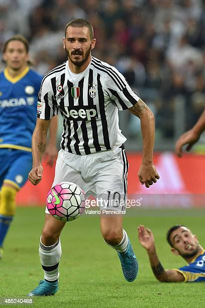 Leonardo Bonucci of Juventus FC in action during the Serie A match between Juventus FC and Udinese Calcio at Juventus Arena on August 23, 2015 in...