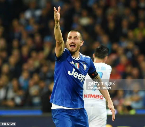 Leonardo Bonucci of Juventus FC in action during the TIM Cup match between SSC Napoli and Juventus FC at Stadio San Paolo on April 5 2017 in Naples...