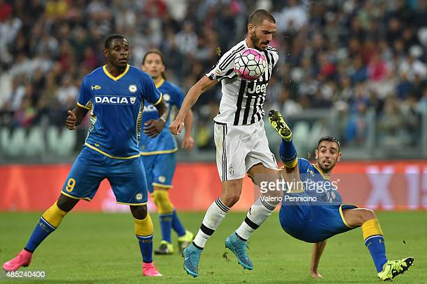 Leonardo Bonucci of Juventus FC is challenged by Bruno Fernandes of Udinese Calcio during the Serie A match between Juventus FC and Udinese Calcio at...
